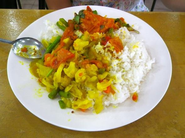 Arroz con vegetales en Malasia