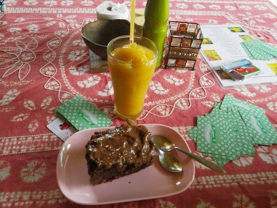 Batido de mango y tarta de chocolate con piña en la granja orgánica (Organic path)