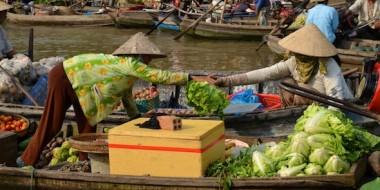 Mercados flotantes en el delta del Mekong