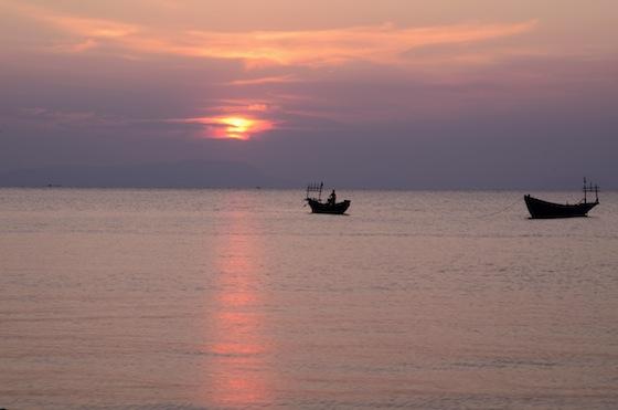 Puesta de sol en Rabbit Island, Camboya