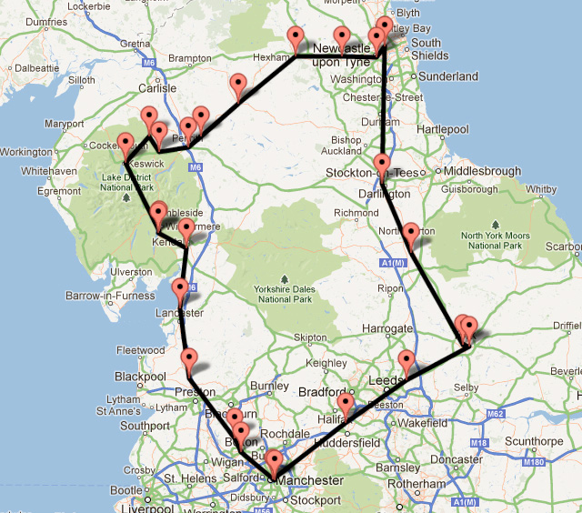 Our bycicle touring route around central England