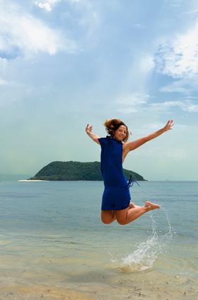 En una playa en Ko Pha Ngan, Tailandia