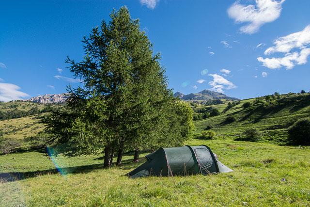 Acampada libre en los Alpes