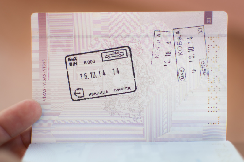 Sello de Montenegro en el pasaporte