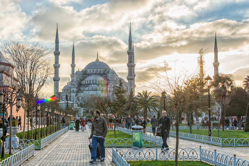 Puesta de sol sobre la Mezquita Azul