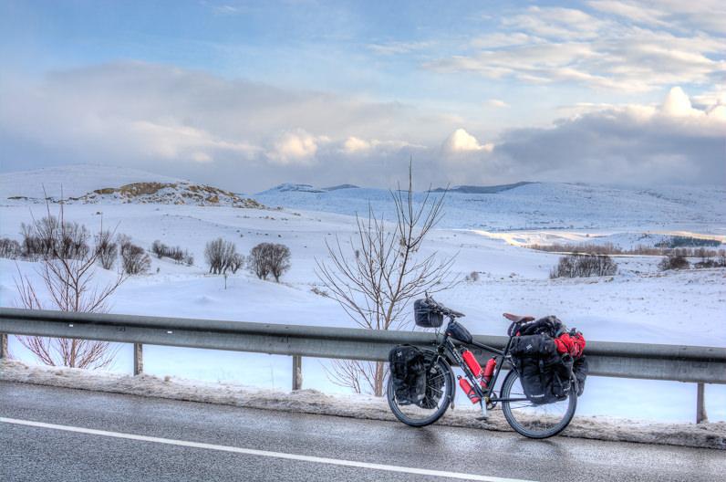 La nieve en bicicleta