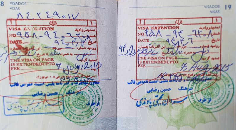 Extensión del visado de Irán