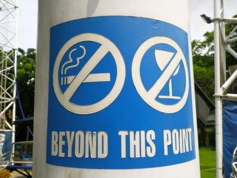 No fumes ni bebas a partir de este punto